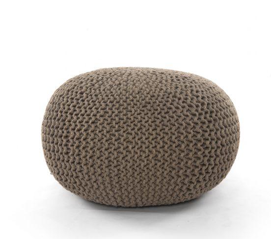 Jute Knit Pouf in Clay
